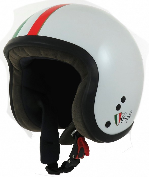 CASCO MOTO PROJECT IN FIBRA CAFE' RACER CAFE' RACER BIANCO BANDIERA ITALIA LUCIDO PROJECT FOR SAFETY